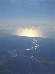 米代川と日本海 夕日がとってもきれい