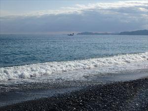 相模湾に面した 御幸の浜海岸