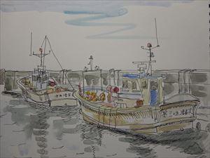 夏の絵鞆漁港
