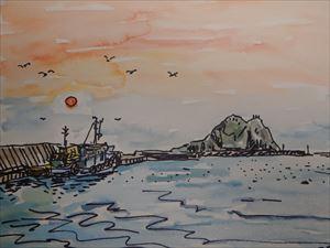 追直漁港の夕日