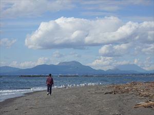 伊達方向へ海岸を走る