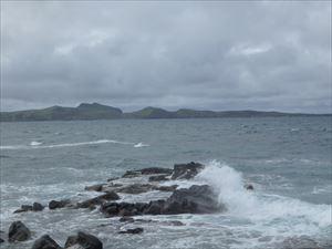 荒れた金田ノ岬の海