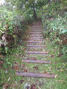 ゆるやかな階段を 汗をかきかき登る