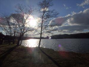 ポロト湖の夕日 寒いけどきれいだった