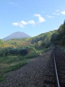線路から見た羊蹄山 きれいだった