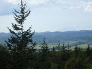 利尻山がやっと見えた! 景色のいい峠に感激