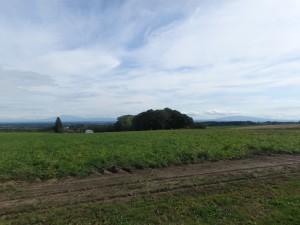 左に斜里岳、右に藻琴山