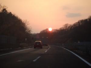珍しくきれいな夕日だった