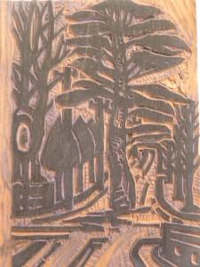 彫りあがった版木