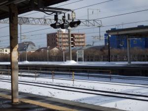 風が冷たい室蘭駅