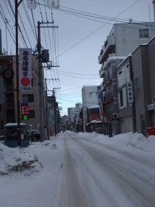 凸凹の雪道を 頑張って走る