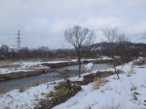 風を切って川を渡る 散歩のおじさんこんにちは