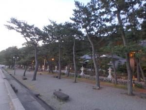 神社へと続く海岸の道