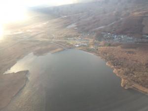 上空からウトナイ湖 きれいだ