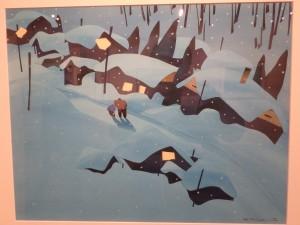 雪に埋もれた夜の街