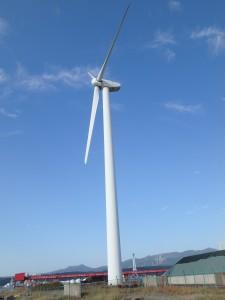 大きい風車を見上げる