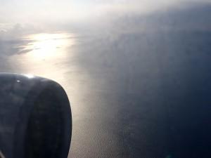 機内から見た夕日
