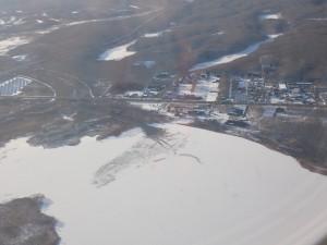 凍結したウトナイ湖