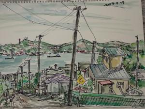 幌萌町から見た白鳥湾 奥が測量山