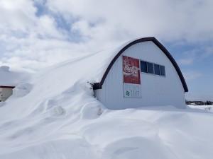 雪に埋もれた倉庫