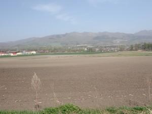 畑と山並み